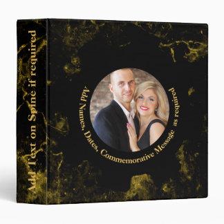 Personalized PHOTO Wedding Album Black Gold Marble 3 Ring Binder