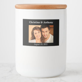 Personalized Photo Wedding Glass Jar Favor Label