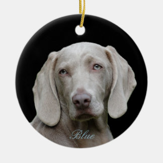 Personalized Photo with Blue Eyed Weimaraner Ceramic Ornament