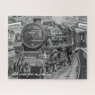 Personalized, photograph of English steam train, Jigsaw Puzzle