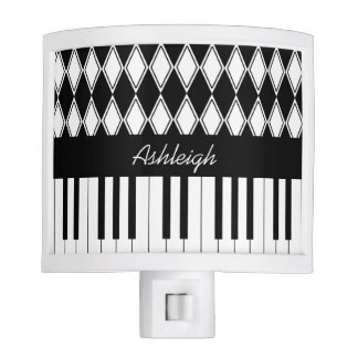 Personalized Piano Keys and Diamonds Nite Light