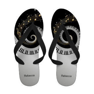 Personalized Piano Keys and Gold Music Notes Flip-Flops