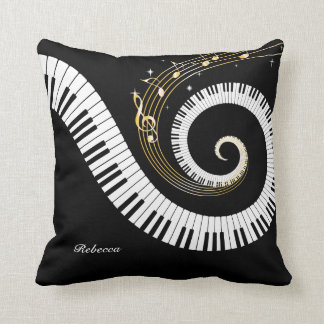 Personalized Piano Keys and Gold Music Notes Throw Pillow
