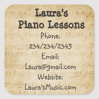 Personalized Piano Lessons Promotional Stickers
