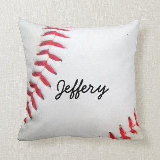Personalized Pillow White Baseball red stitching