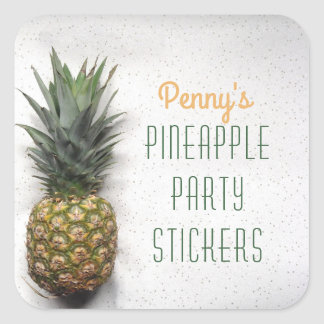 Personalized Pineapple Party Square Sticker