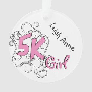 Personalized Pink 5k Girl Runner design Front Ornament