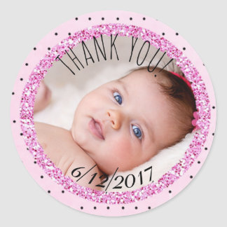Personalized Pink and B|lack Baby Photo Sticker