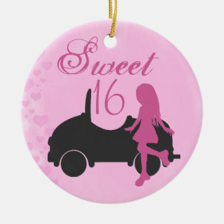 Personalized Pink and Black Car Sweet 16 Sixteen Round Ceramic Ornament