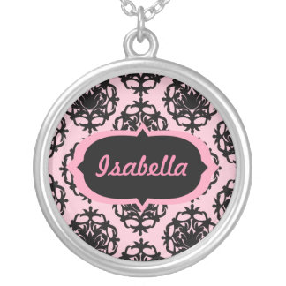 Personalized Pink and Black Damask Round Pendant Necklace