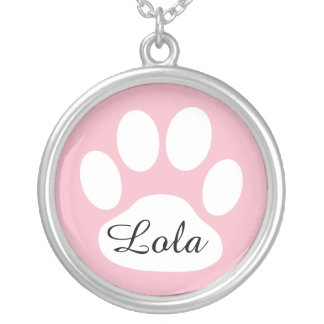 Personalized Pink and Black Dog Paw Print Necklace
