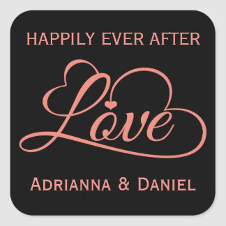 Personalized Pink And Black Love Heart Wedding Square Sticker