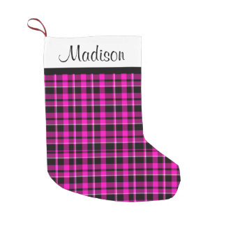 Personalized Pink and Black Plaid Tartan Small Christmas Stocking