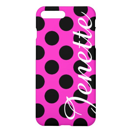 Personalized Pink and Black Polka Dots iPhone 8 Plus/7 Plus Case