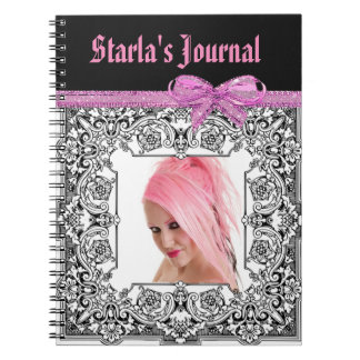 Personalized Pink and Black Tribal Border Notebook