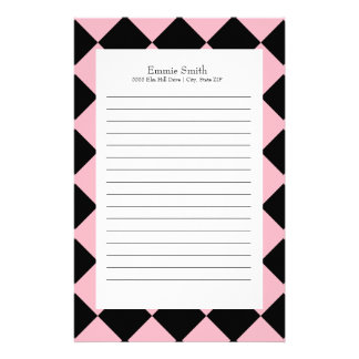 Personalized Pink and Black with White Checkered Stationery