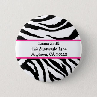 Personalized Pink and Black Zebra Pin