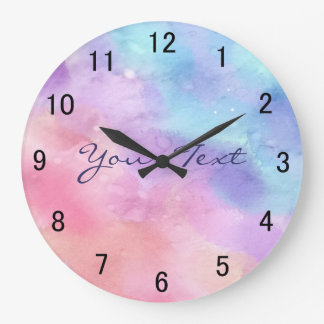 Personalized Pink and Blue Watercolor Large Clock