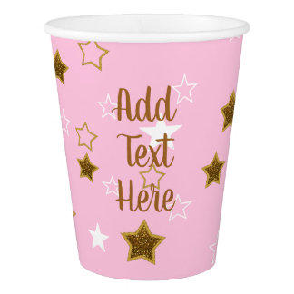 Personalized Pink and Gold Stars Paper Cup