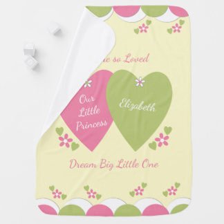 Personalized pink and green Princess baby Baby Blanket