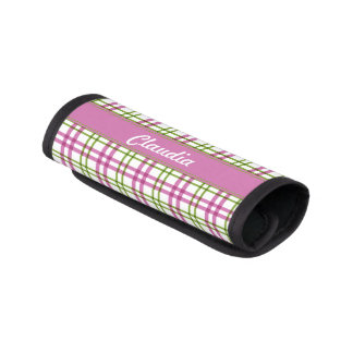 Personalized Pink and Green Tartan Handle Wrap