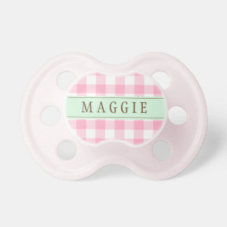 Personalized Pink and Mint Buffalo Check Pacifier