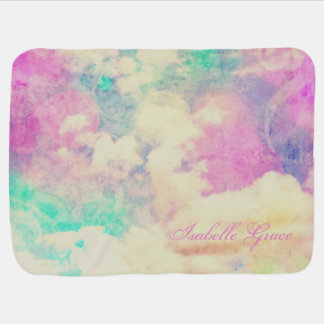 Personalized Pink and Purple Clouds Baby Blanket