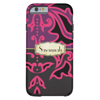 Personalized Pink and Purple Damask iPhone 4 Case