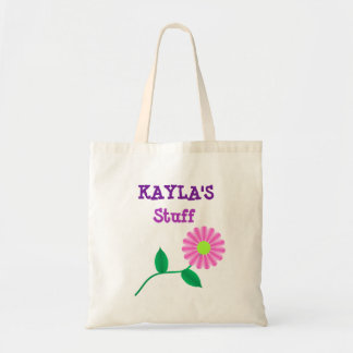 Personalized pink and purple flower Tote Bag