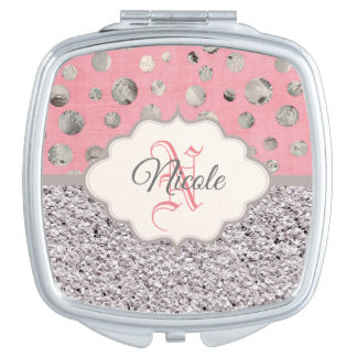 Personalized Pink and Silver Glitter Mirror For Makeup