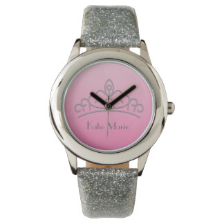 Personalized Pink and Silver Pageant Tiara Watch