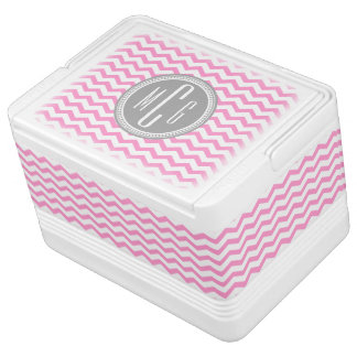 Personalized Pink and White Chevron Monogrammed