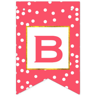 Personalized Pink and White Dot Gold Trim Wedding Bunting Flags