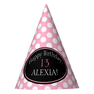Personalized Pink and White Polka Dot Party Hat