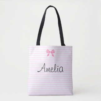 Personalized Pink and White Stripe Tote Bag