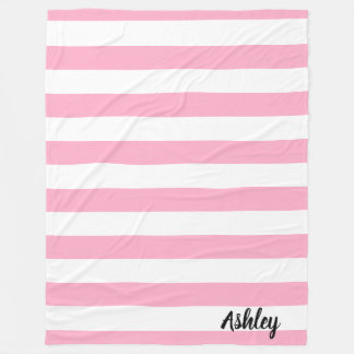 Personalized Pink and White Striped Fleece Blanket