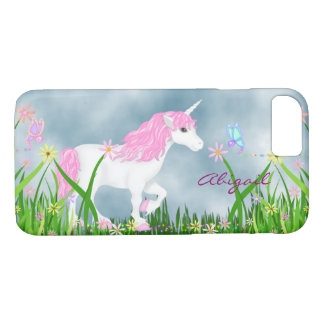 Personalized Pink and White Unicorn with Flowers iPhone 8/7 Case
