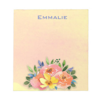 Personalized Pink and Yellow Floral Notepad