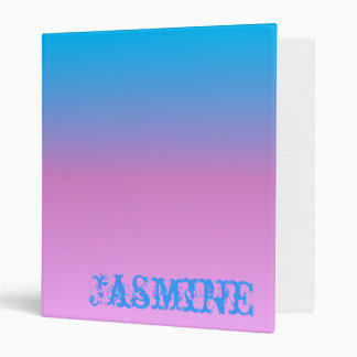 Personalized Pink Aqua Ombre 3 Ring Binder
