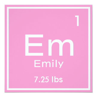 Personalized Pink Baby Girl Element Card