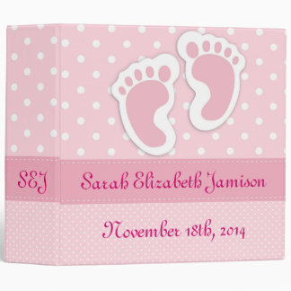 Personalized Pink Baby Girl Footprints Photo Album 3 Ring Binders