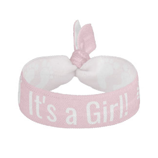 Personalized Pink Baby Shower Hair Ties