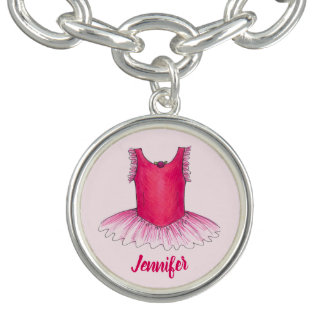 Personalized Pink Ballerina Tutu Ballet Dance Gift Bracelet