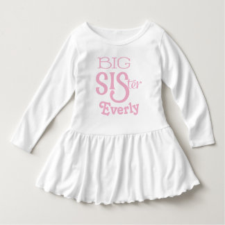 Personalized Pink BIG Sister Curved Text Dress