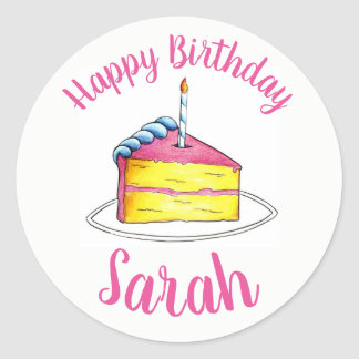 Personalized Pink Birthday Party Cake Slice Candle Classic Round Sticker