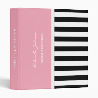 Personalized: Pink Black And White Striped Binder