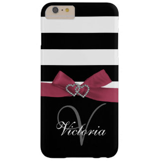 Personalized Pink, Black Bold Stripes Printed Bow Barely There iPhone 6 Plus Case