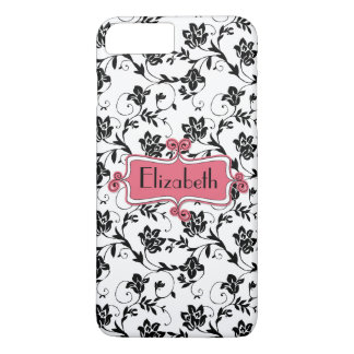 Personalized Pink Black Damask iPhone 8 Plus/7 Plus Case