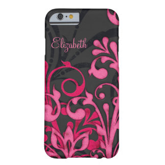 Personalized Pink Black Floral Barely There iPhone 6 Case