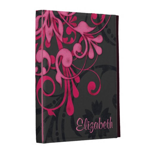 Personalized Pink Black Floral iPad Folio Case